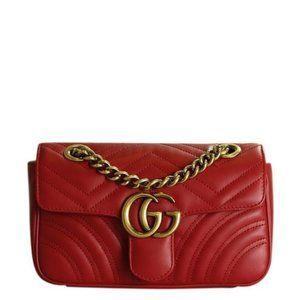 Marmont Velvet Shoulder Bag 446744 Red